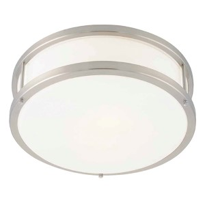 Conga Brushed Steel One-Light Flush Mount with Opal Glass