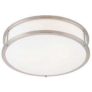 Conga Brushed Steel Three-Light Flush Mount
