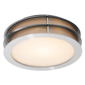 Iron Brushed Steel One-Light Flush Mount with Frosted Glass