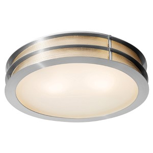 Iron Brushed Steel Two-Light Flush Mount with Frosted Glass