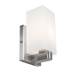 Archi Brushed Steel One-Light Vanity with Opal Glass