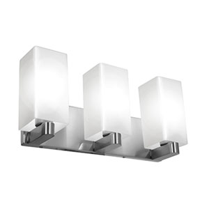 Archi Brushed Steel Three-Light Vanity with Opal Glass