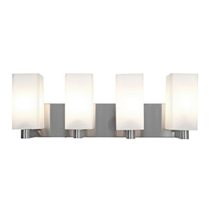 Archi Brushed Steel Four-Light Vanity with Opal Glass
