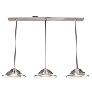 Phoebe Brushed Steel Three-Light 34-Inch Wide LED Island Pendant