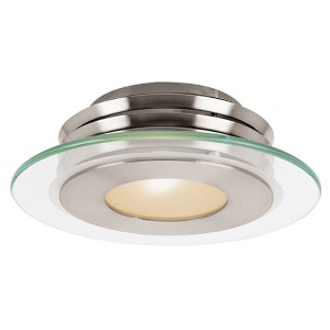 Helius Brushed Steel One-Light Flush Mount with Clear Glass with Center Frosted Ring