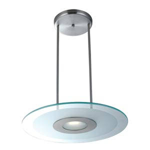 Helius Brushed Steel One-Light Pendant with Clear Glass with Center Frosted Ring