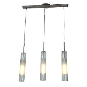 Dezi Brushed Steel Three-Light 23-Inch Wide Fluorescent Island Pendant