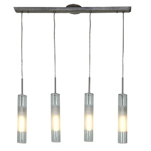 Dezi Brushed Steel Four-Light 36-Inch Wide Fluorescent Island Pendant