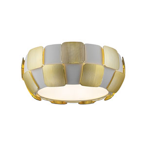 Layers Gold Four-Light 14-Inch Flush Mount with White Shade