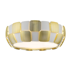 Layers Gold Four-Light 18-Inch Flush Mount with White Shade
