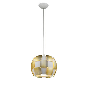 Layers Gold Four-Light 11-Inch Pendant with White Shade