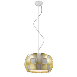 Layers Gold Three-Light 14-Inch Pendant with White Shade