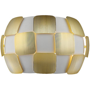Layers Gold Two-Light 13-Inch Wall Sconce with White Shade