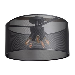 Epic Black 24-Inch Five-Light Round Semi-Flush Mount