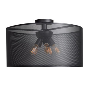 Epic Black 28-Inch Six-Light Round Semi-Flush Mount