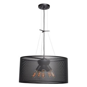 Epic Black 20-Inch Five-Light Round Pendant