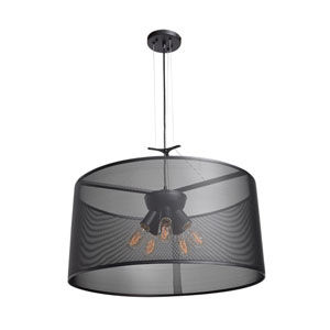 Epic Black 24-Inch Five-Light Round Pendant