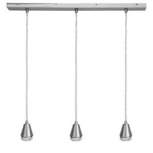 Trinity Brushed Steel Three-Light 28-Inch Wide Island Pendant