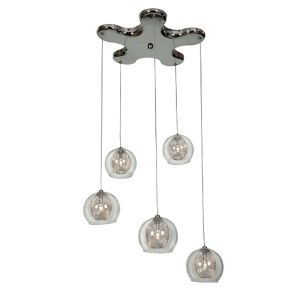 Aeria Chrome Five-Light 14-Inch Wide Island Pendant