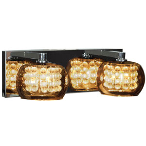 Glam Chrome Two-Light 15-Inch Vanity with Mirror Glass and Crystal Shade