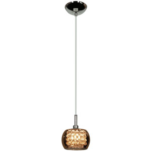Glam Chrome One-Light 5-Inch Mini Pendant with Mirror Glass and Crystal Shade