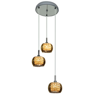 Glam Chrome Three-Light 10-Inch Mini Pendant with Mirror Glass and Crystal Shade
