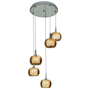 Glam Chrome Five-Light 14-Inch Pendant with Mirror Glass and Crystal Shade