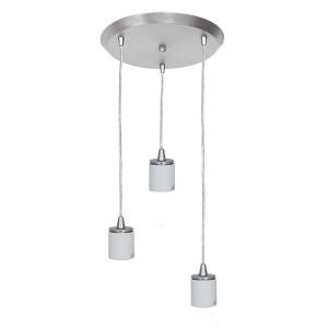Circ Brushed Steel Three-Light 11-Inch Wide Fluorescent Island Pendant