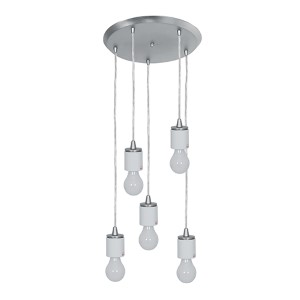 Circ Brushed Steel Five-Light 14-Inch Wide Island Pendant