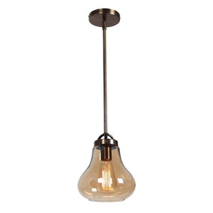 Flux Dark Bronze and Amber Glass One-Light Vintage 7-Inch Pendant