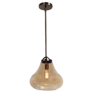 Flux Dark Bronze and Amber Glass One-Light Vintage 13-Inch Pendant