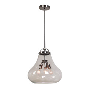 Flux Antique Nickel and Clear Glass Three-Light Vintage Pendant