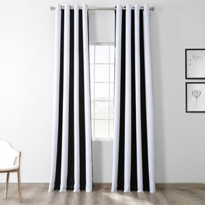 Awning Black and Fog White Stripe 120 x 50-Inch Curtain Single Panel
