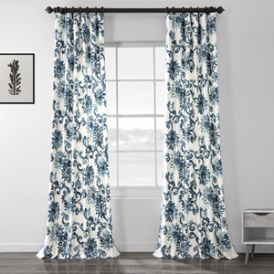 Indonesian Blue 84 x 50-Inch Printed Cotton Twill Curtain Single Panel