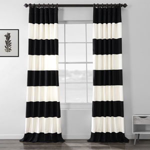 Black and Off White 50 x 108-Inch Horizontal Stripe Curtain