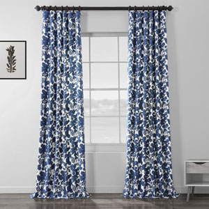 Blue 96 x 50 In. Printed Cotton Curtain