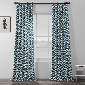 Navy Blue 108 x 50 In. Printed Cotton Twill Curtain Single Panel