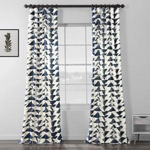 Triad Indigo 96 x 50 In. Printed Cotton Twill Curtain Single Panel