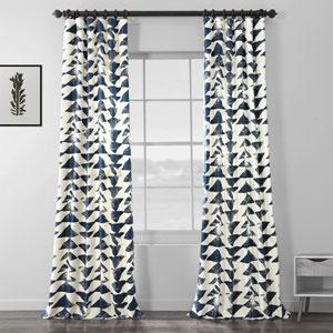 Triad Indigo 108 x 50 In. Printed Cotton Twill Curtain Single Panel