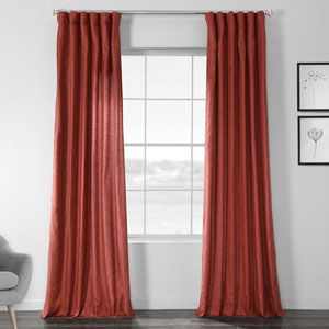 Faux Shantung Silk Amiral Red 96 x 50-Inch Curtain Single Panel