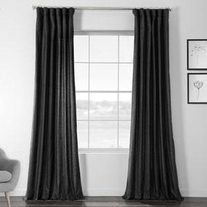 Faux Shantung Silk Papillon Black 96 x 50-Inch Curtain Single Panel