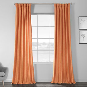 Faux Shantung Silk Monarch Orange 108 x 50-Inch Curtain Single Panel