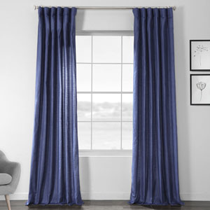 Faux Shantung Silk Swallow Tail Blue 108 x 50-Inch Curtain Single Panel