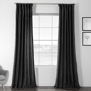 Faux Shantung Silk Papillon Black 108 x 50-Inch Curtain Single Panel