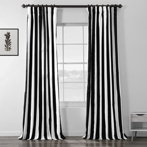 Cabana Black Printed Cotton Curtain 120 x 50