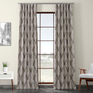 Brown Printed 96 x 50-Inch Polyester Blackout Curtain Single Panel