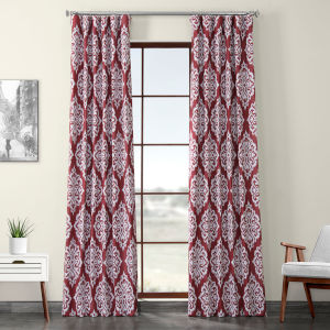 Red Printed 108 x 50-Inch Polyester Blackout Curtain Single Panel