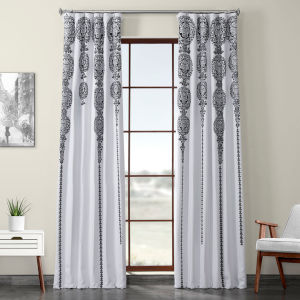 Black Printed 96 x 50-Inch Polyester Blackout Curtain Single Panel