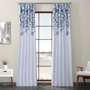 Blue Printed 84 x 50-Inch Polyester Blackout Curtain Single Panel