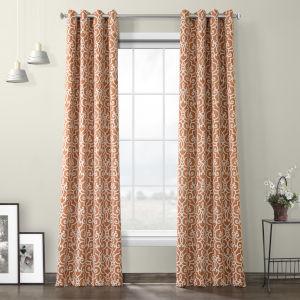 Orange Rust Grommet Blackout Curtain Single Panel